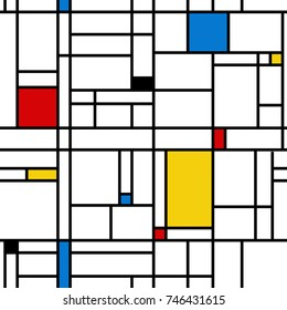 Abstract geometric colorful seamless pattern. Mondrian style. Vector illustration. Mosaic Piet Mondrian emulation
