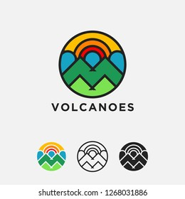 abstract geometric colorful volcano mountain logo icon vector illustration template on white background set