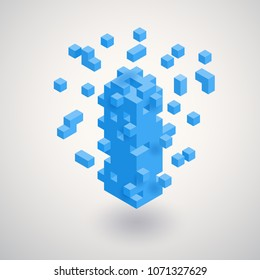 Abstract geometric compose tridimension cubes, floating isometric  square shape bunch, tetris and puzzle game. Vector illustration concept for management, property, real estate, build tower, busines