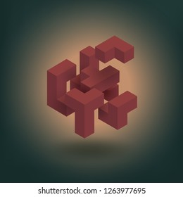Abstract geometric compose tridimension cubes, floating isometric  square shape bunch, tetris and puzzle game. Vector illustration for management, teamwork, corporate, leadership concept.