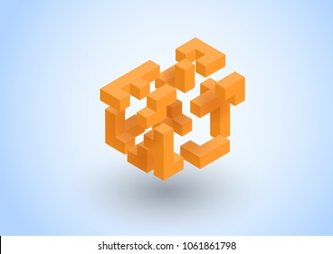 Abstract geometric compose tridimensional cubes, floating isometric  square shape bunch, tetris and puzzle game. Vector illustration for management, teamwork, corporate, leadership concept.