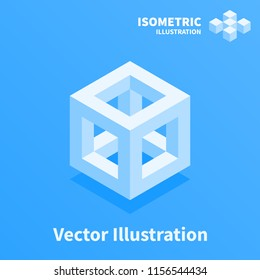 Abstract geometric composition. 3d pixel art illustration.