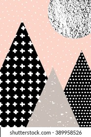 Abstract geometric composition in black, white, taupe and pastel pink. Hand drawn vintage texture, dots pattern and geometric elements. Modern and stylish abstract design poster, cover, card design.