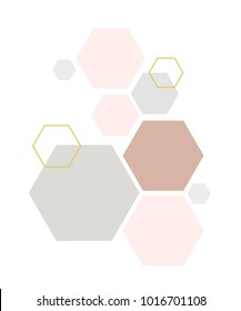 Abstract geometric composition with decorative hexagons. Abstract colorful geometric isometric background, can be used for wallpaper, template, poster, backdrop, book cover, brochure, leaflet,