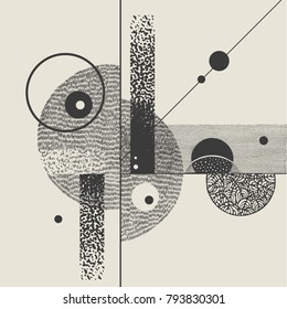 Abstract geometric composition with grunge halftone drawing textures. vector illustration
