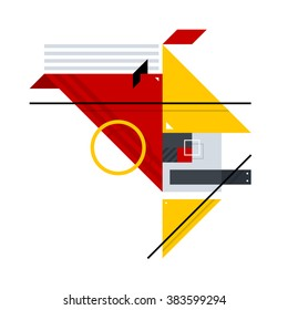Abstract geometric composition of simple shapes. Style of Abstract art, Suprematism, Constructivism. The design element is isolated on a white background, suitable for prints, posters and covers.
