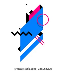 Abstract geometric composition. Style of Abstract art, Suprematism, modern street art and graffiti. The design element is isolated on a white background, suitable for prints and posters.