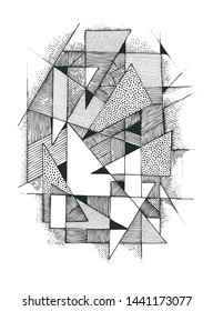 Abstract geometric composition with triangles. Hand drawn background. vector illustration