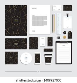 Abstract geometric corporate identity, stationery set.
