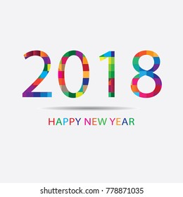 Abstract geometric Creative happy new year 2018 colorful on modern background. Can be adapt to Brochure, Annual Report, Magazine, Poster, Corporate Presentation, Portfolio, Flyer, Banner, Web