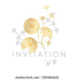Abstract geometric dandelion flowers. Decorative floral abstract repeatable motif for card, invitation, poster. Stock vector illustration design element.
