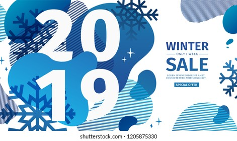 Abstract geometric design for the happy new year 2019. New Year banner with vector blue liquid form with the decor of snowflakes  and sparkles. Blue, creative template sale with fluid dynamic shape.