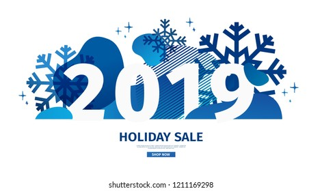 Abstract geometric design for the happy new year 2019. Christmas offer banner with vector liquid form and decor  snowflakes and sparkles. Blue creative template sale graphic with fluid dynamic shape.