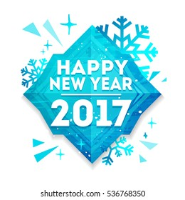 Abstract geometric design for the happy new year 2017. New Year banner with vector geometric figure with the decor of snowflakes, stars and sparkles. Blue, creative concept with polygonal figure
