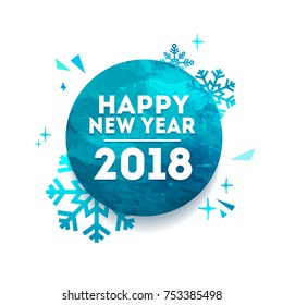 Abstract geometric design for the happy new year 2018. Holiday circle banner with vector geometric figure with the decor of snowflakes, stars and sparkles. Blue, creative concept with polygonal figure