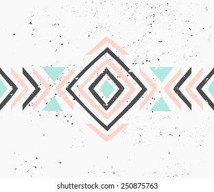 Abstract geometric design in pastel colors. Ethnic decorative art in pink, blue and gray. Indian style pattern.