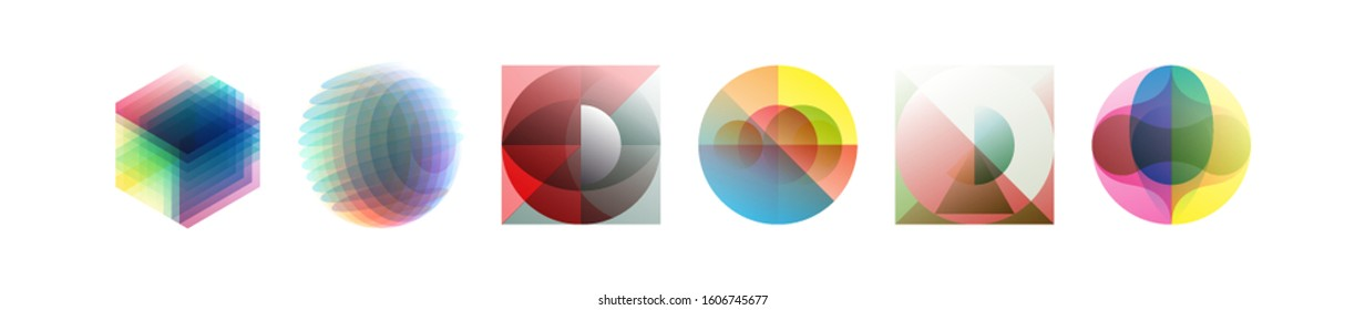 Abstract geometric design. Vector illustration made of various overlapping elements. Applicable for banners, placards, posters, flyers.