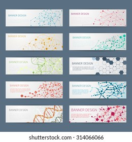 Abstract geometric DNA vector banners. Science poster design, structure chemistry, connect nuclear atom illustration