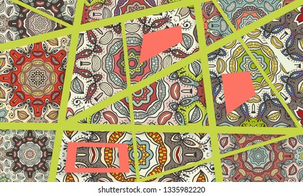 Abstract geometric doodle background. Patchwork quilt pattern. Colorful decorative collage  Trendy lines and shapes with 3D effect. Vector illustration