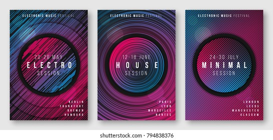 Abstract geometric electronic music poster designs, brochure cover templates, flyers. Vector illustration. Global swatches.