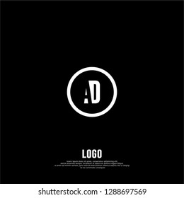 abstract geometric elegant circle AD logo letters design concept