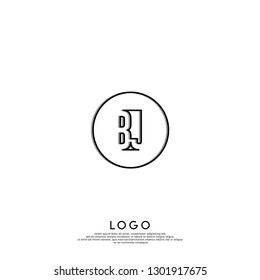 abstract geometric elegant circle lines BJ logo letters design concept in shadow shape