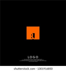 abstract geometric elegant rectangular orange square BJ logo letters design concept in shadow shape