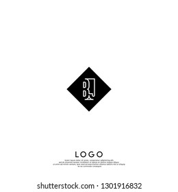 abstract geometric elegant rectangular square BJ logo letters design concept in shadow shape