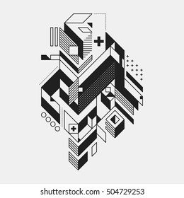 Abstract geometric element in futuristic style isolated on white background. Useful for prints and posters.