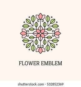 Abstract geometric flower and leaves logo template. Linear floral emblem in pastel colors.