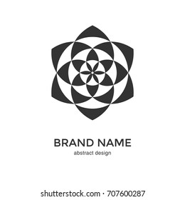 Abstract geometric flower logo. Black and White Circular Fractal Design. Digital flower icon. Lotus symbol. Simple logotype template. Vector illustration.