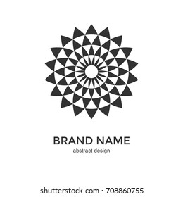 Abstract geometric flower logo. Black and White Circular Fractal Design. Digital flower icon. Lotus symbol. Simple logotype template. Vector illustration.