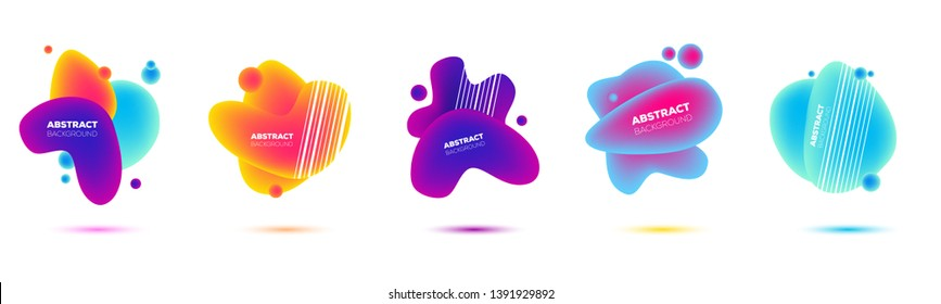 Abstract geometric fluid shapes with vibrant gradient colors. Vector illustration set of different trendy shapes with neon colors