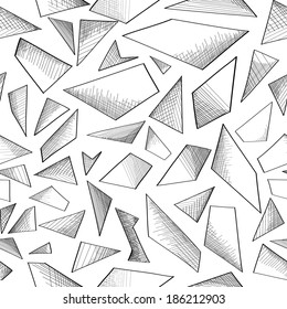Abstract geometric foam seamless doodle pattern. Geometrical shape hand drawn sketch  background.