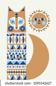 Abstract geometric fox. Scandinavian and folk design. Poster. Vector Illustration.