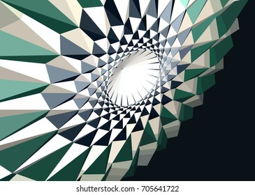 Abstract geometric futuristic optical illusion figure illustration. Vector background