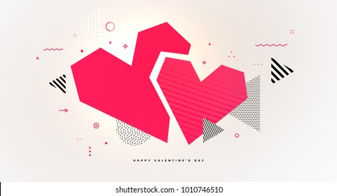 Abstract geometric glitch art love heart for Valentine's Day invitation card design