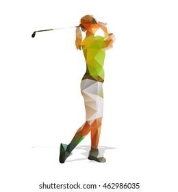 Abstract geometric golf player. Polygonal golfer silhouette. Woman playing golf