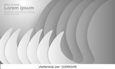 Abstract geometric gray gradient white background. Elegant curved lines and shapes with ideal color graphics design for just about anything. Illustration of Vector Eps10.