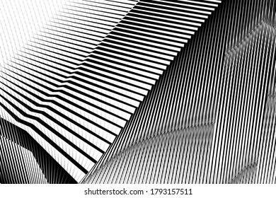 Abstract geometric halftone lines background, modern design, black and white geometric dynamic pattern, vector texture for card, cover, poster, decoration.