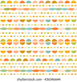 Abstract geometric hand drawn pattern. Vector light colorful seamless pattern.