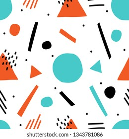 Abstract geometric hand drawn seamless pattern for kids print, textile, walpapaer. Kids playful memphis background.