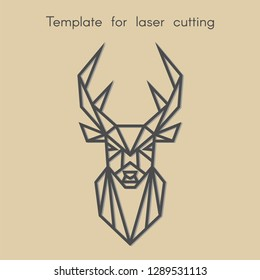 Abstract geometric head deer for cut. Template animal for laser cutting. Stencil for decorative panel of wood, metal, paper. Vector illustration.