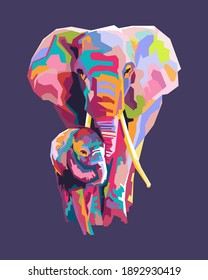 An abstract geometric head and foot colorful elephant with background. In WPAP Pop ART style vector eps10-editable.