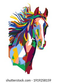 An Abstract geometric head of horse. Colorful in popart WPAP style.vector eps10-editable