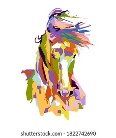 An abstract geometric head of horse.colorfull with wpap popart style.vector eps-10-editable.