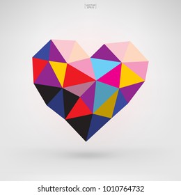 Abstract geometric heart symbol for Valentine's Day. Heart shape for decorative card, website, template design, postcard, special offer sale, advertising, mobile application. Vector illustration.