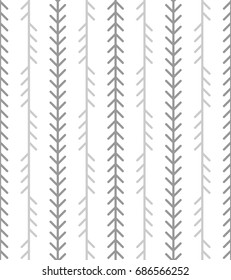 Abstract geometric herringbone pattern. Classic monoline fishbone background in grey and white colors. Backdrop with vertical fir tree-like stripes. Vector seamless repeat.