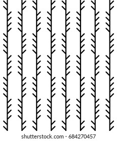 Abstract geometric herringbone pattern. Monoline fishbone background in black and white colors. Backdrop with vertical pine tree-like stripes. Vector seamless repeat.