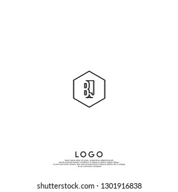 abstract geometric hexagon BJ logo letters design concept in shadow shape